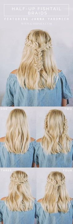 Half-up Fishtail Braids For Short Hair // Model > @jannaYaromich
