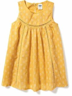 I am obsessed with this baby girl dress! Eyelet-Trim Swing Dress for Baby Girls Dresses Sewing, Stylish Dresses For Girls, Toddler Girl Dresses, Little Girl Dresses, Baby Girl Dress Design, Girls Frock Design, Kids Dress Wear, Kids Gown, Baby Frocks Designs