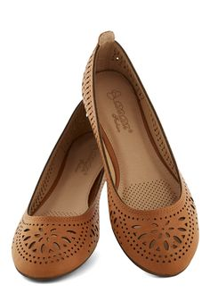 Haute of Doors Flat in Clay. We know - its hard to be inside when the weathers fine, but these cutout flats will inspire outdoor whimsy whether youre picnicking or pitching a proposal! #tan #modcloth