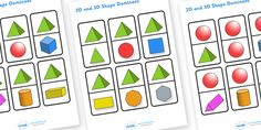 A handy set of dominoes featuring key and shapes. A fun game for your children to play - why not ask them to name the shapes as they play? 2d And 3d Shapes, Solid Shapes, Free Shapes, Fun Math Activities, Math Resources, Math Games, Maths, Shape Games, School Fun