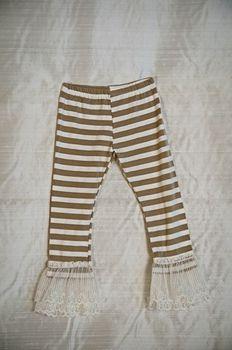 Persnickety Tan Stripe Double Ruffle Leggings