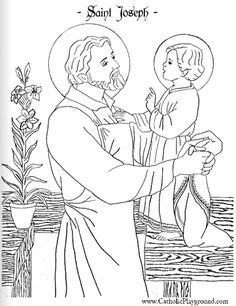 Beautiful Saint Joseph and Child Jesus coloring page