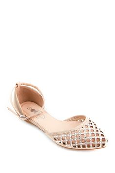 Glamour d'Orsay Flat// light pink sparkly flat