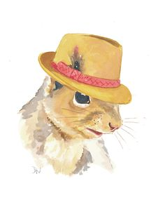 Squirrel Watercolor - Original Squirrel Illustration, Fedora Hat, Animal Art, Humor, 8x10. $40.00, via Etsy.