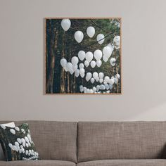 How pretty is this photography wall art by Catherine McDonald? #trending #balloons #forest