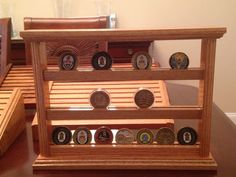 Challenge Coin Holder / Display New Shelf Style 21 Coin Oak