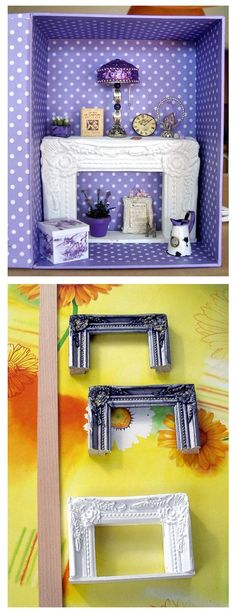 Dollhouse miniature - Fireplace from a picture frame (be careful: lots of unsoli. Dollhouse miniature – Fireplace from a picture frame (be careful: lots of unsolicited pop-up wind Miniature Rooms, Miniature Furniture, Dollhouse Furniture, Barbie Furniture, Diy Dolls House Furniture, Tiny Furniture, Diy Crafts For Girls, American Girl Diy, Shopkins