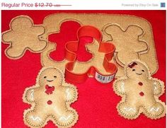 Gingerbread cookie dough play pretend felt food set