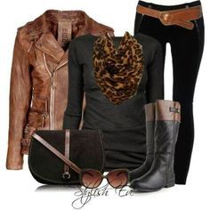 Stylish brown leather jacket, black blouse, cheetah scarf, belt and skinnies with long boots