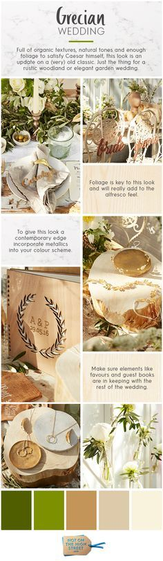 Full of organic textures, natural tones and enough foliage to satisfy Caesar himself, Grecian styling is an update on a (very) old classic. Just the thing for a rustic woodland or elegant garden wedding. Santorini Wedding, Greece Wedding, Garden Wedding, Dream Wedding, Wedding Day, Grecian Wedding, Rustic Wedding, Wedding Color Schemes, Wedding Colors