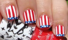 Patriotic 4th of July Funky French Nail Art