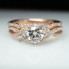 14k Rose Gold Over Round Diamond Wedding Engagement Ring Band Set 2 Ct #ElleDiamonds #EnaggementRing #EngagementWeddingAnniversary