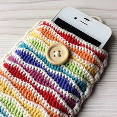 Crochet rainbow cell phone pouch mobile phone by mrsHOOKcrafts