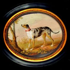 Rare Antique French Hand Painted Miniature Portrait Painting of a Hound Dog from The Antique Boutique on Ruby Lane