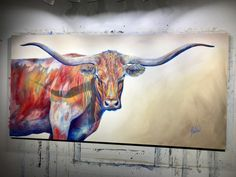 Studio Sneak Peek — NEW This bold guy will be heading to Park City Fine Art with me for my Holiday Gallery Show See you there? Pastel Artwork, Oil Pastel Paintings, Animal Paintings, Pizza Ranch, Bull Painting, Longhorn Cattle, Long Horn, Art Village, Farm Art