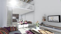 Comedor, salón cocina y dormitorio de un apartamento.