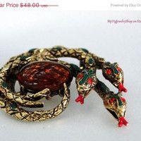 On SALE Snakes Brooch Intertwined Enamel Triple Snake Figural Brooch Featured Book Piece
