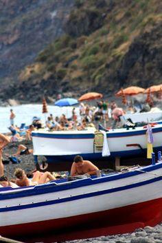 Colourful fish boats in Stromboli.