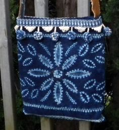 UPCYCLED  Indigo Tie Dye Fringe Over the Shoulder by WhatsNextYaya, $29.00