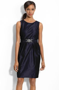Alex Evenings Beaded Waist Taffeta Sheath Dress by mia