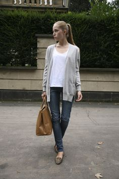 Classy, simple & laid-back Sunday look (Allude cashmere cardigan, Acne denim, Leo flats, Prada bag)