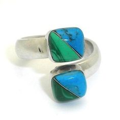 Two Cube Malachite Turquoise Wrap Ring Handmade and Fair Trade. Alpaca silver wrap ring ending with two smooth polished cubes of malachite and turquoise. The band is 3/8th of an inch thick. Cubes are 1/4 inch. Adjustable, Handmade silver rings ideas | Simple beautiful vintage shape stones | Mexican Inspiration style jewellery for prom | Modern Boho bohemian pirate hippie USA charms | Awesome unique tribe tribal mom | Contemporary Modern Delicate Design | Fashion gift ideas for her girlfriend