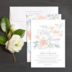 Romantic peach and light blue wedding invitations