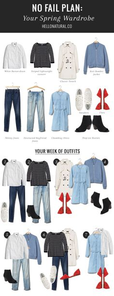 No-Fail Plan: 7 Outfits from 10 Spring Must-Haves | http://hellonatural.co/spring-wardrobe-essentials/