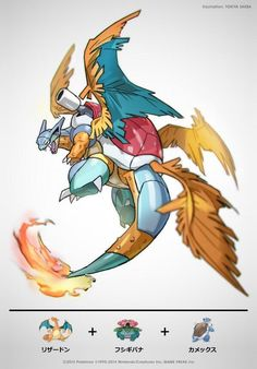 Pokemon Fusion by Tokiya Sakba Pokemon Fusion Art, Pokemon Fan Art, Fotos Do Pokemon, Mega Pokemon, Pokemon Funny, Pokemon Memes, Pokemon Cards, Pokemon Comics, Fantasy Creatures