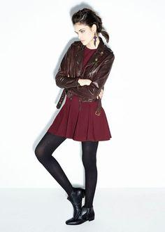 Nicole Miller Fall 2014. #NMwarrior Amber ponte sleeveless dress & Brown washed moto leather jacket.
