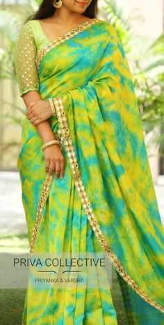 PV 3691 : Blue and Green. <br> Price : 5200. <br> Bring in this lovely bright and beautiful tie and dye cotton sari in colours of blue and green. 06 June 2018