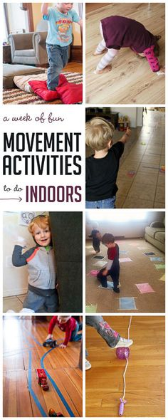 A week of indoor gross motor activities to get the kids moving when you're stuck inside. Rain Day Activities, Physical Activities For Toddlers, Activities For One Year Olds, Activities For Adults, Movement Activities, Indoor Activities For Kids, Infant Activities, Preschool Activities, Indoor Games