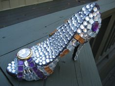 All Bling All ClassMosaic Shoe Sculpture by tallymosaics on Etsy, $125.00