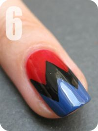 Nailside: Tutorial: Zigzag pattern tape mani http://nailside.blogspot.be/2011/06/tutorial-zigzag-pattern.html