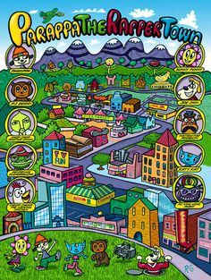 Signed Print - Parappa the Rapper Town
