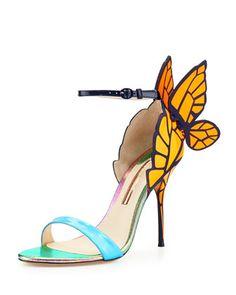 Chiara Butterfly Wing Sandal, Blue/Orange by Sophia Webster at Neiman Marcus.