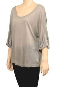 Spy Blousy Top 3/4 Womens Shirts Light Gray Size M ~