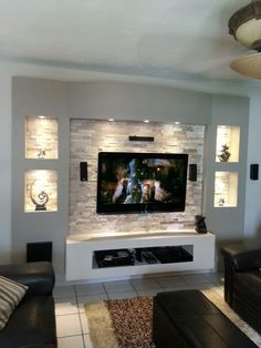 Wohnzimmer tv ideen by innovaci 243 n tv unit my own projects tv wall decor. Living Room With Fireplace, New Living Room, Living Room Decor, Small Living, Modern Living, Modern Tv, Modern Wall, Tv Fireplace, Wall Fireplaces