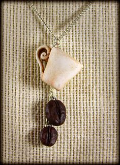 Coffee Lovers, Cup and Beans Necklace, Jewelry, Handmade. $25.00, via Etsy.