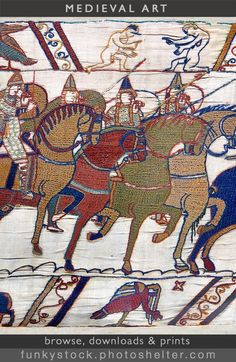 Bayeux tapestry Pictures & images of the Bayeux Tapestry, Bayeux, France. The most famous tapestry i Bayeux Tapestry, Medieval Tapestry, Medieval Art, Duke William, Gothic Fashion, Women's Fashion, 11th Century, Stock Art, Anglo Saxon