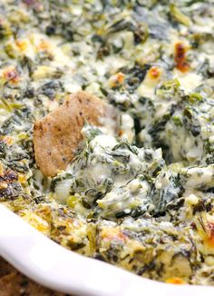 Clean Eating Baked Spinach Feta Dip -- Feel good about sharing it with your friends. You can prep this dip in advance and it is gluten free.