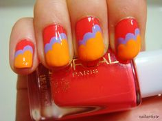The Nail Artiste: Nail Art: Happy Clouds à la Nailside. Could do this with christmas-y colours