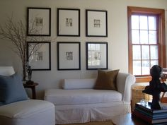 washable slip covers, grass rugs, and architectural prints in standard frames