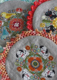 All three doilies - completed! by twinfibers, via Flickr