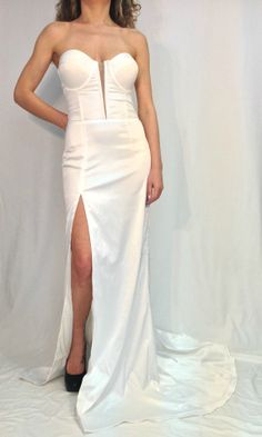 White+Bustier+Maxi+Dress+Wedding+Dress+by+MDSewingAtelier+on+Etsy,+$199.00