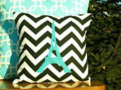 Eiffel Tower Chevron Pillow Cover - Black Chevron - Turquoise Applique - Kid/Nursery Sized - 14x14 on Etsy, $21.00