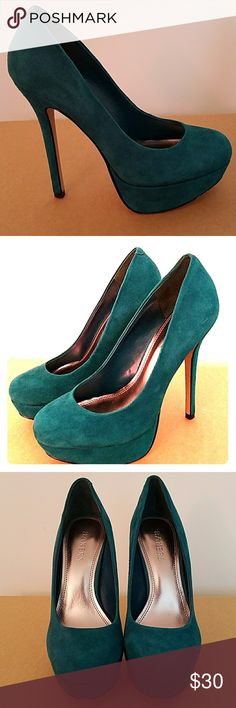 Bakers Platform Stilettos Teal Suede Gorgeous teal suede stilettos in great condition. Worn only once, suede has some blemishes that aren't noticeable when worn. Bakers was a cult favorite shoe store that has now gone out if business. Grab these party perfect pumps while you still can! Style name: Melina. Bakers Shoes Platforms