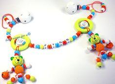 Kinderwagenkette mit Namen Mum+Dad=me Teddy von Schnullerkette by baby name for u auf DaWanda.com