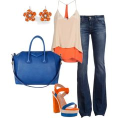 orange and blue, created by watermelondug on Polyvore