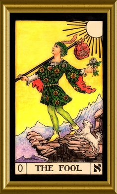 The Fool, the first card in the deck. Divination Cards, Tarot Cards, Tarot Major Arcana, Oracle Cards, Christmas Carol, Tarot Decks, Muted Colors, Deck Of Cards, The Fool